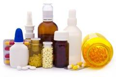 Zusammensetzung der Medizinflaschen und -pillen Stockbild