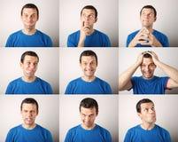 Zusammensetzung des jungen Mannes verschiedene Gefühle ausdrückend Stockbilder
