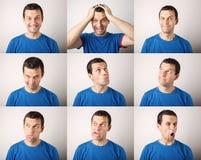Zusammensetzung des jungen Mannes verschiedene Gefühle ausdrückend Stockfotografie