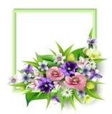 Zusammensetzung des köstlichen Frühlinges blüht für Design von Postkarten, Broschüren, Fahnen, die Flieger, auf einer ebenen Fläc lizenzfreie abbildung