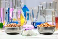 Zusammensetzung des Labormaterials mit farbigen Flüssigkeiten im reali Stockbild
