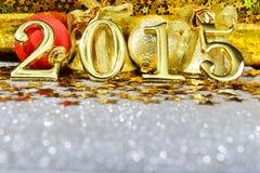 Zusammensetzung des neuen Jahres mit Gold nummeriert 2015-jähriges Lizenzfreie Stockbilder