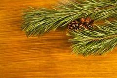 Zusammensetzung des neuen Jahres mit Tannenzapfen und Tannenbaumast auf woode stockfotografie