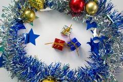 Zusammensetzung des neuen Jahres oder des Weihnachten für Fahne oder Grußkartenschablone Stockbild