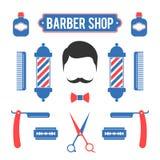 Zusammensetzung des Satzes der Ikonen für Barber Shop Stockbilder