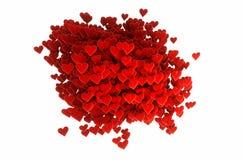 Zusammensetzung des Valentinsgrußes 3d von Herzen mit weißem Hintergrund Lizenzfreie Stockfotografie