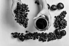 Zusammensetzung des Weins, der Traube und der Pflaumen Stockfotografie