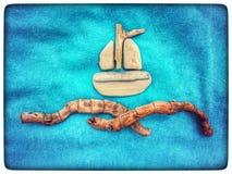 Zusammensetzung eines Bootes hergestellt von den natürlichen Materialien Stockbild