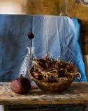 Zusammensetzung eines Vase, stieg, Granatapfel, Korb und verwelkte Blumen Stockbild