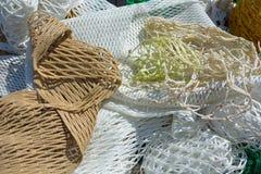 Zusammensetzung einiger Netze für die Fischerei Stockfotos
