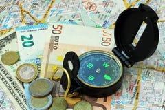 Zusammensetzung - Einsparungsgeld zum Reisen Stockfotografie