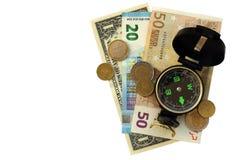 Zusammensetzung - Kompass und Geld lokalisiert Lizenzfreies Stockbild