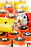 Zusammensetzung mit alkalischen Batterien Chemikalienabfall Lizenzfreie Stockfotos