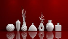 Zusammensetzung mit dekorativen Tonwaren Stockfoto