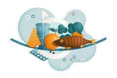 Zusammensetzung mit Elementen des gesunden Lebensstils, der Eignung, der Sportnahrung und des Korngefüges stock abbildung