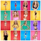 Zusammensetzung mit Fotos des sexy blonden Mädchens Stockfotos