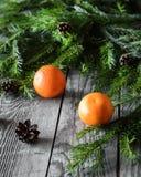 Zusammensetzung mit Mandarinen, Fichtenzweigen und Kegeln auf einem gealterten hölzernen Hintergrund Lizenzfreie Stockfotografie