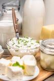 Zusammensetzung mit Milchprodukten lizenzfreies stockbild