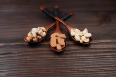 Zusammensetzung mit Samen und sortierten Nüssen auf den hölzernen Löffeln Stockfotografie