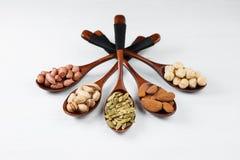 Zusammensetzung mit Samen und sortierten Nüssen auf den hölzernen Löffeln Stockfoto