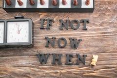 Zusammensetzung mit Schach und Phrase ist nicht jetzt Wann? verfasst von den Buchstaben auf Holztisch Schmutz-Hintergrund f?r Ihr lizenzfreies stockbild