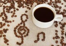Zusammensetzung mit Schalen- und Kaffeebohneanmerkungen Stockbilder