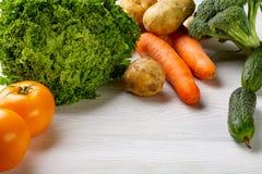 Zusammensetzung mit sortiertem rohem organischem Gemüse Stockfotografie