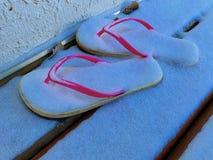 Zusammensetzung von den Flipflops umfasst mit Schnee Ideales Bild für Tourismus stockfoto