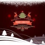 Zusammensetzung von einem Satz Weihnachtsschneeflocken, Text, Weihnachtsbaum und Rotwild Lizenzfreies Stockfoto