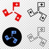 Zusammensetzung von Gradiented punktierte medizinische Flaggen und Grunged-Stempel vektor abbildung