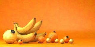 Zusammensetzung von Gruppenbananen spielt Dekoration und Bananen stock abbildung