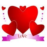 Zusammensetzung von Herzen mit Schreiben Stockfotos