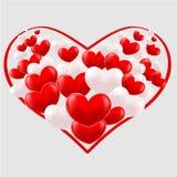 Zusammensetzung von roten und weißen Herzen Stockfotografie