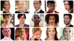 Zusammensetzung von verschiedenen Gesichtern von Leuten stock video