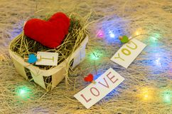 Zusammensetzung von verschiedenen Herzen Viele wenig Herzen Mehrfarbige Girlande Ich liebe dich Stockbild