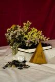 Zusammensetzung von verwelkten Blumen, von Sketchbook, von Handfan, von Knöpfen und von transparentem Ball Lizenzfreie Stockfotografie