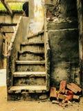 Zusammensetzung von Ziegelsteinen und von Treppe Stockfotografie