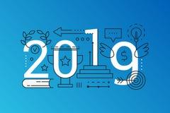Zusammensetzungs-Konzeptfahne des Wortes des Erfolgs 2019 modische Umreißen Sie Anschlag Erfolgslösung, Führung, Visionsstrategie stock abbildung