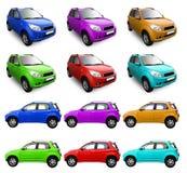 Zusammenstellung der Autos in der unterschiedlichen Farbe Lizenzfreie Stockfotos