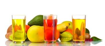 Zusammenstellung der exotischen Früchte und des Safts Lizenzfreies Stockfoto