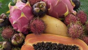 Zusammenstellung der exotischen tropischen thailändischen Frucht einschließlich Papaya, Rambutan, Dragonfruit, Longan, Mangostanf stock footage