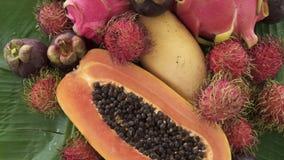Zusammenstellung der exotischen tropischen thailändischen Frucht einschließlich Papaya, Rambutan, Dragonfruit, Mangostanfrucht un stock video footage