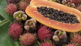 Zusammenstellung der exotischen tropischen thailändischen Frucht einschließlich Papaya, Rambutan und Mangostanfrucht stock footage