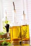 Zusammenstellung der Olivenöle Stockfotografie