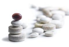 Zusammenstellung der verschiedenen Pillen Stockfotos