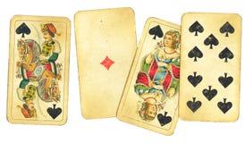 Zusammenstellung der Weinlese-Spielkarten Lizenzfreies Stockbild