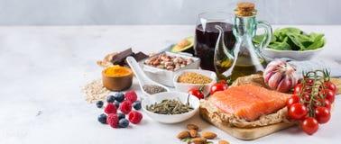 Zusammenstellung des niedrigen Cholesterins des gesunden Lebensmittels stockbild