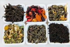 Zusammenstellung des trockenen Tees Verschiedene Arten des Tees lokalisiert auf Weiß Verschiedene Arten von Teeblättern Teezusamm Lizenzfreie Stockfotos