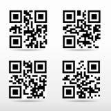 Zusammenstellung qr Code bereit, mit intelligentem Telefon zu scannen Stockfotos
