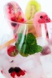 Zusammenstellung von Berry Popsicles mit tadellosen Blättern auf Eis-Würfeln Stockfoto
